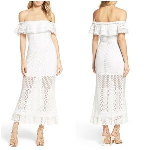 Foxiedox Anthro Fringe Lace Off Shoulder Dress M